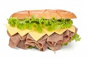 tasty reformed roasted beef, cheese and lettuce sandwich