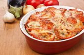 casserole dish with classic greek moussaka with eggplant