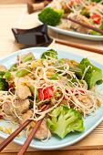 servings of warm chinese salad with cellophane noodles, meat and vegetables