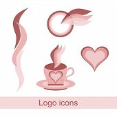 Set Of Logos For Beauty Salons A Heart, A Torch, A Mug From Which Steam Comes, The Logo Is Isolated  poster