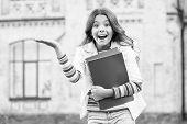 School Education. Modern Education. Kid Smiling Girl School Student Hold Workbooks Textbooks For Stu poster