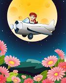Abbildung eines Mädchens fliegen Flugzeug in dunklen Himmel