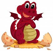 stock photo of animated cartoon  - Illustration of a dragon hatching - JPG