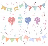 Set Of Holiday Decorations. Doodle Balloons, Flags, Serpentine And Confetti. Vector Flat Handdrawn O poster