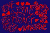 Wallpaper Of Inscriptions Of Rough Lines For Valentines Day. Hearts, Ornament And Inscriptions. poster