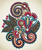 Hand Draw Line Art Ornate Flower Design