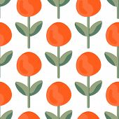Lush Lava Bud Meadow Seamless Vector Pattern. A Beautiful Meadow Of Simple Flower Bud In Lush Lava C poster