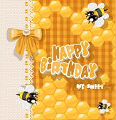 Happy Birthday to my sweet - card with bees and honey