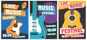 Music Festival Posters. Live Acoustic Guitar Music Concert Poster, Rock Fest Flyer And Creative Broc poster