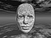 Surreal face with text text is from HG wells Time Machine it is in the public domain and there is no