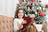 New Year Eve. Best Xmas Book. Small Girl Reader Enjoy Reading At Home. Interesting Christmas Story.  poster