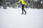 Cross-country skiing: young man cross-country skiing on a winter day poster