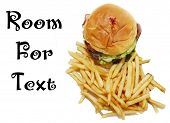 Hamburger and French Fries. Isolated on white. Room for text. Bacon Cheese Burger on a white plate w poster