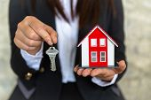 A Real Estate Agent With A Key. Red Roof House. Offering Home, Property Insurance, And Housing Safet poster