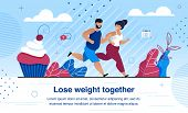 Weight Lose And Family Healthy And Active Lifestyle Trendy Flat Vector Banner, Poster Template With  poster