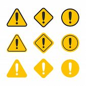 Caution Alarm Set. Danger Sign Collection. Attention Vector Icon. poster