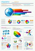 Infographics page with a lot of design elements like chart, globe, icons, graphics, maps, cakes, hum