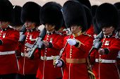 LONDON, UK - JUNE 16: Queen's guards during Trooping the Colour ceremony on the Mall and at Buckingh