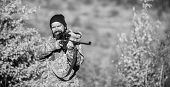 Focus And Concentration Of Experienced Hunter. Hunting Masculine Hobby Concept. Man Brutal Gamekeepe poster