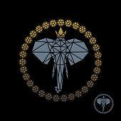 The Royal Elephant. Illustration Of A Royal Elephant Logo Design On A Black Background poster