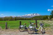 Two Bicycles And Forest And Grass In Foreground, Snowcapped Mountain Range In Background With Clear  poster