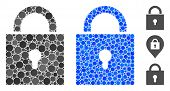 Lock Composition Of Filled Circles In Different Sizes And Color Tones, Based On Lock Icon. Vector Fi poster