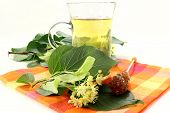 pic of lime-blossom  - a cup of lime blossom tea with fresh flowers - JPG