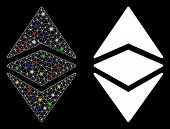 Flare Mesh Ethereum Classic Icon With Sparkle Effect. Abstract Illuminated Model Of Ethereum Classic poster