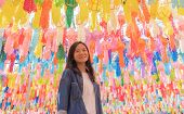 A Portrait Of Asian Woman With Colorful Lanterns Or Lamps During Travel Trip And Holidays Vacation C poster