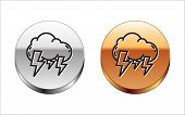 Black Line Storm Icon Isolated On White Background. Cloud And Lightning Sign. Weather Icon Of Storm. poster
