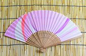 Japanese Folding Fan On Bamboo Blind Background.