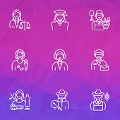 Profession Icons Line Style Set With Farmer Woman, Judgment, Assistant And Other Mailman Elements. I poster