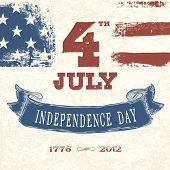 Vintage styled card for Fourth July Celebration. Vector, EPS10