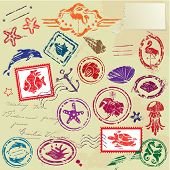 Sea And Tropical Elements - Rubber Stamps Collection