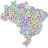 Map of Brasil in a mosaic of circles