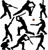 stock photo of cricket  - Cricket game silhouettes set - JPG