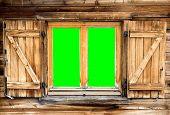 Mountain Hut Window Green Screen