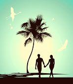 Married Couple Walking On Tropical Island