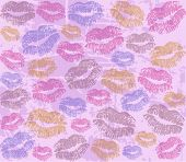 background with the imprints of lips