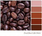 French Roast bean colour palette with complimentary swatches. Part of a series of five images showin