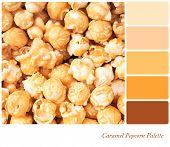 A background of caramel popcorn in a colour palette with complimentary colour swatches