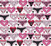 Hearts with lingerie. Valentine's day background