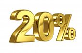 20% discount digits in gold metal, twenty percent off golden sign