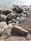 Seascape Rocks With Inset Chimney