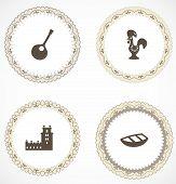 Etiquetas vintage con iconos