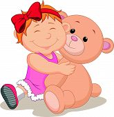 Girl with teddy bear cartoon