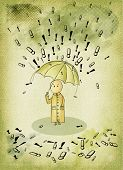Imperatives - Little man caught in a storm of demands, expectations, concept illustration