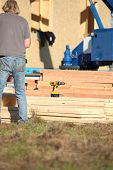Construction work with planks of wood
