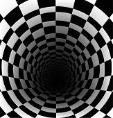 stock photo of hollow  - Checkerboard background with perspective of deeper effect - JPG