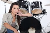 Sultry female drummer